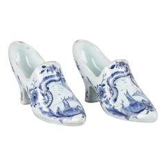 Miniature Delft Ceramic Shoes, Netherlands, 1940s