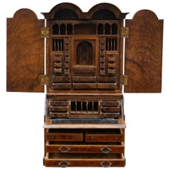 Miniature Dolls House Asprey 1890 London Burr Walnut George II Bureau Bookcase