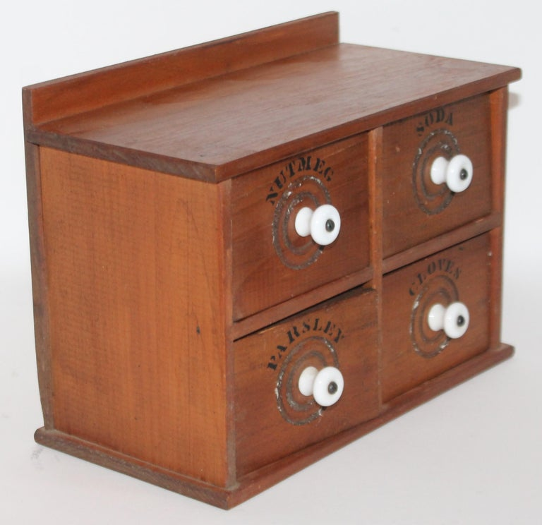 Adirondack Miniature Early Spice Box with Original Stencil Drawers For Sale