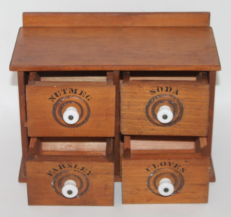 American Miniature Early Spice Box with Original Stencil Drawers For Sale
