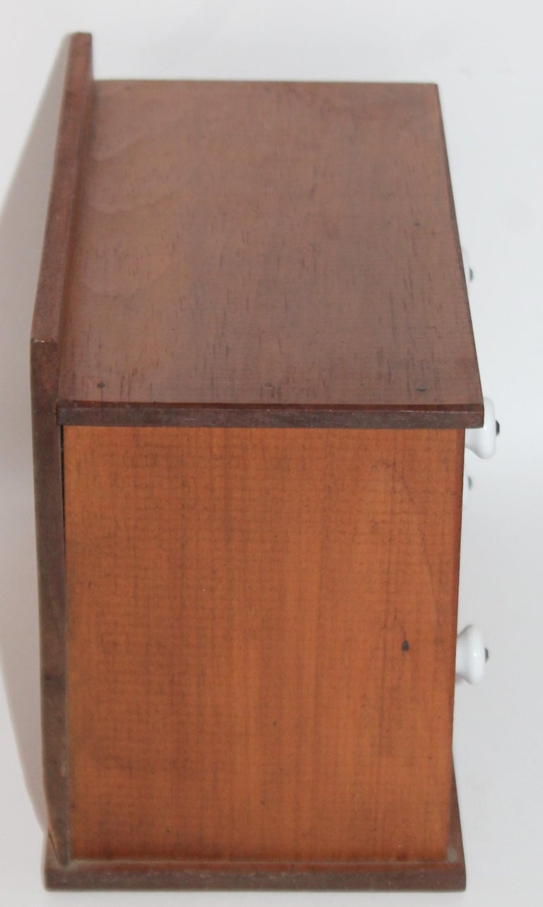 Hand-Crafted Miniature Early Spice Box with Original Stencil Drawers For Sale