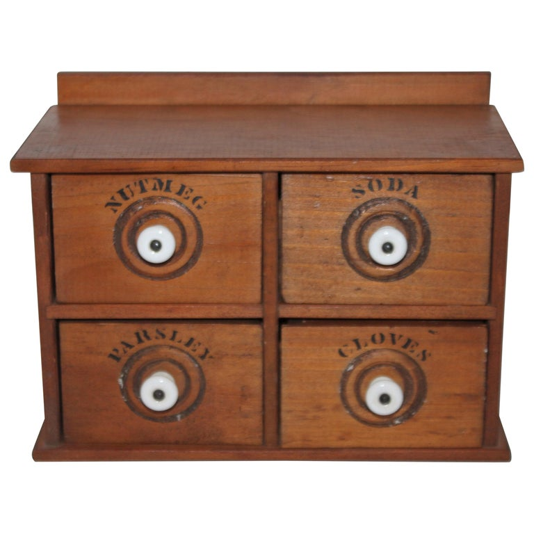 Miniature Early Spice Box with Original Stencil Drawers For Sale