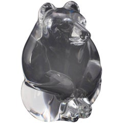 Miniature Figural Steuben Crystal Bear Sculpture, Signed, 20th Century