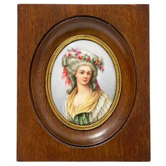 Miniature Framed Portrait of a Lady Painted on Porcelain