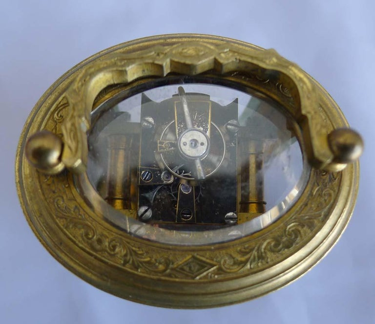 Gilt Miniature French Oval, Engraved Carriage Clock For Sale