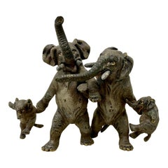 "Miniature Geschutz Vienna Bronze ""Elephant Family"" Sculpture, circa1890"