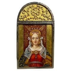 Miniature Hand Painted Silver Renaissance Lady Portrait Stand