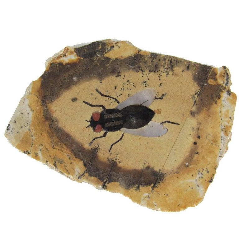 Miniature Italian Pietra Dura Fly Plaque