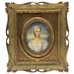 Miniature Lady Portrait by Ruby Hand Painted on Celluloid in Giltwood Frame