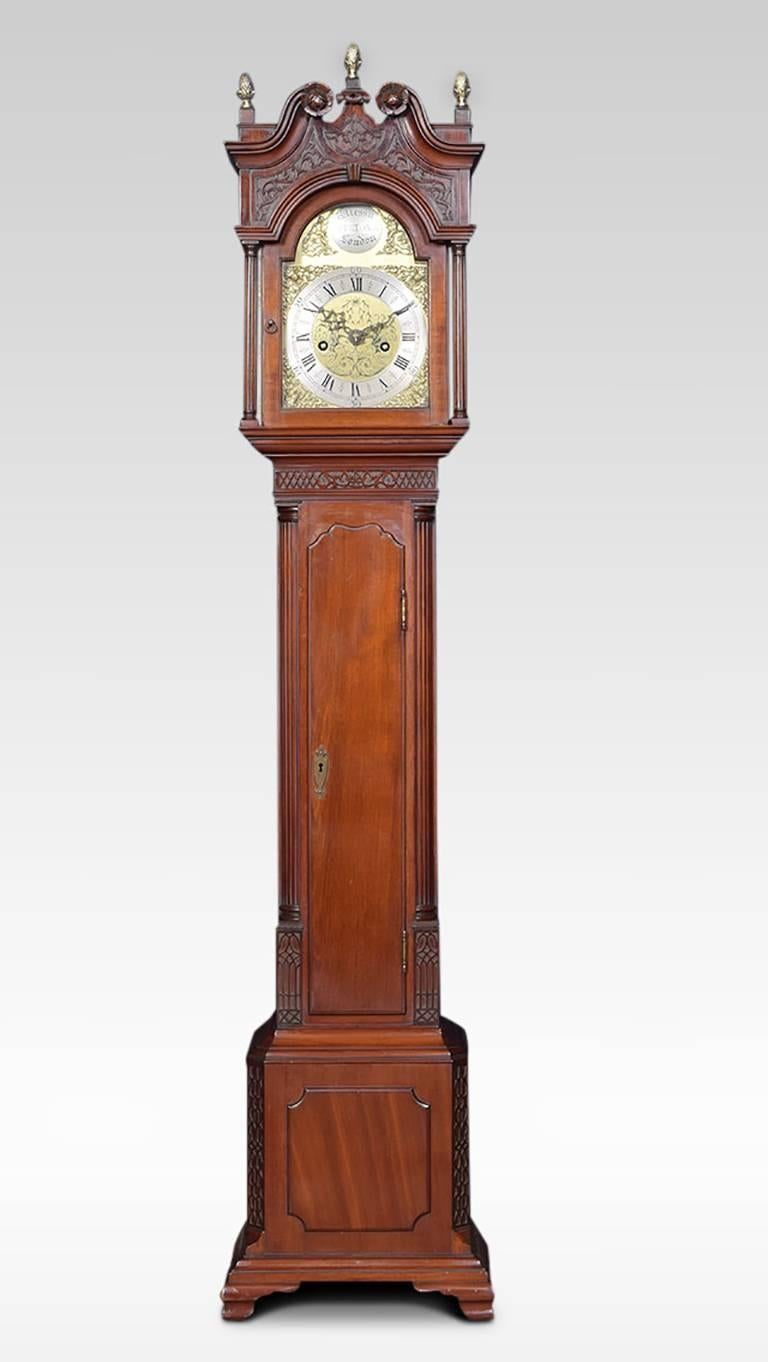 Mahogany Cased Grandfather Clock Of Small Proportions The Arched Hood Crowned With Three Br Acorn