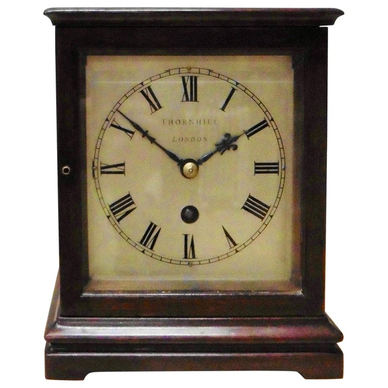Miniature Mahogany Library Clock, Thornhill, London For Sale