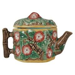 Miniature Majolica-Glazed Teapot, on a Porcelain Body, English, circa 1920