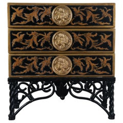 Miniature Neoclassical Style Jewelry Box Chest on Stand Wood 3 Drawer Iron Base