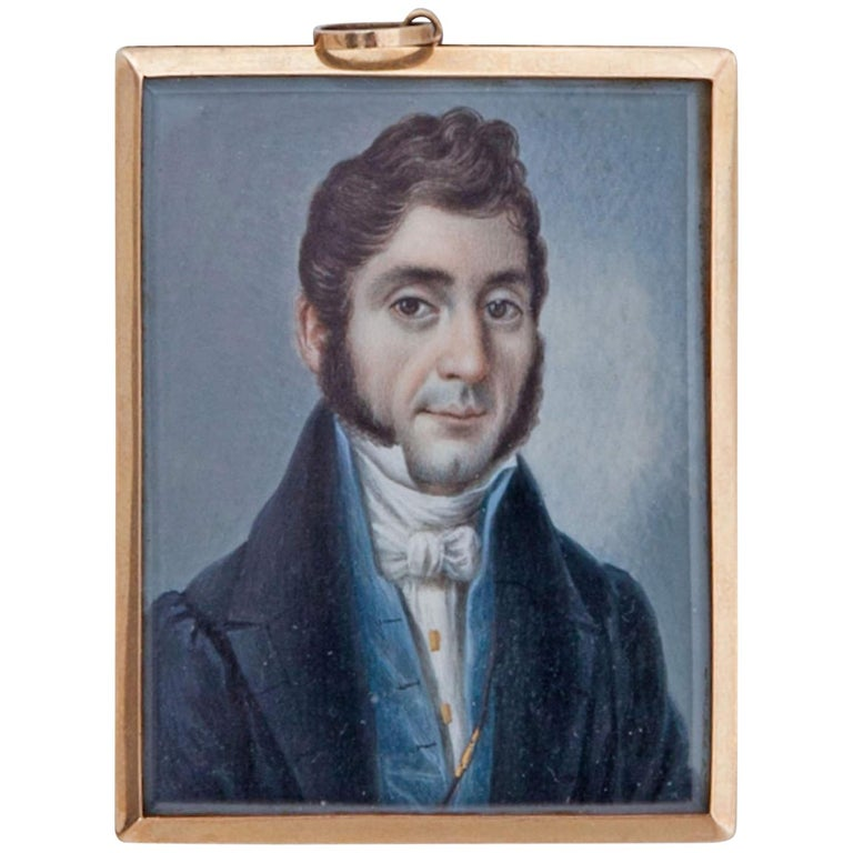 Miniature of a Gentleman of the Biedermeier Period, 19th Century For Sale