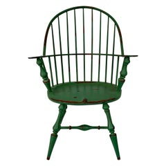 Miniature or Salesman's Sample Windsor Armchair in Green Paint