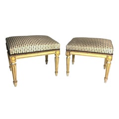 Miniature Pair of Antique French Louis XVI Carved Giltwood Stools