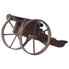 Miniature Patinated Bronze Canon on a Wooden Field Gun-Carriage, 19th Century