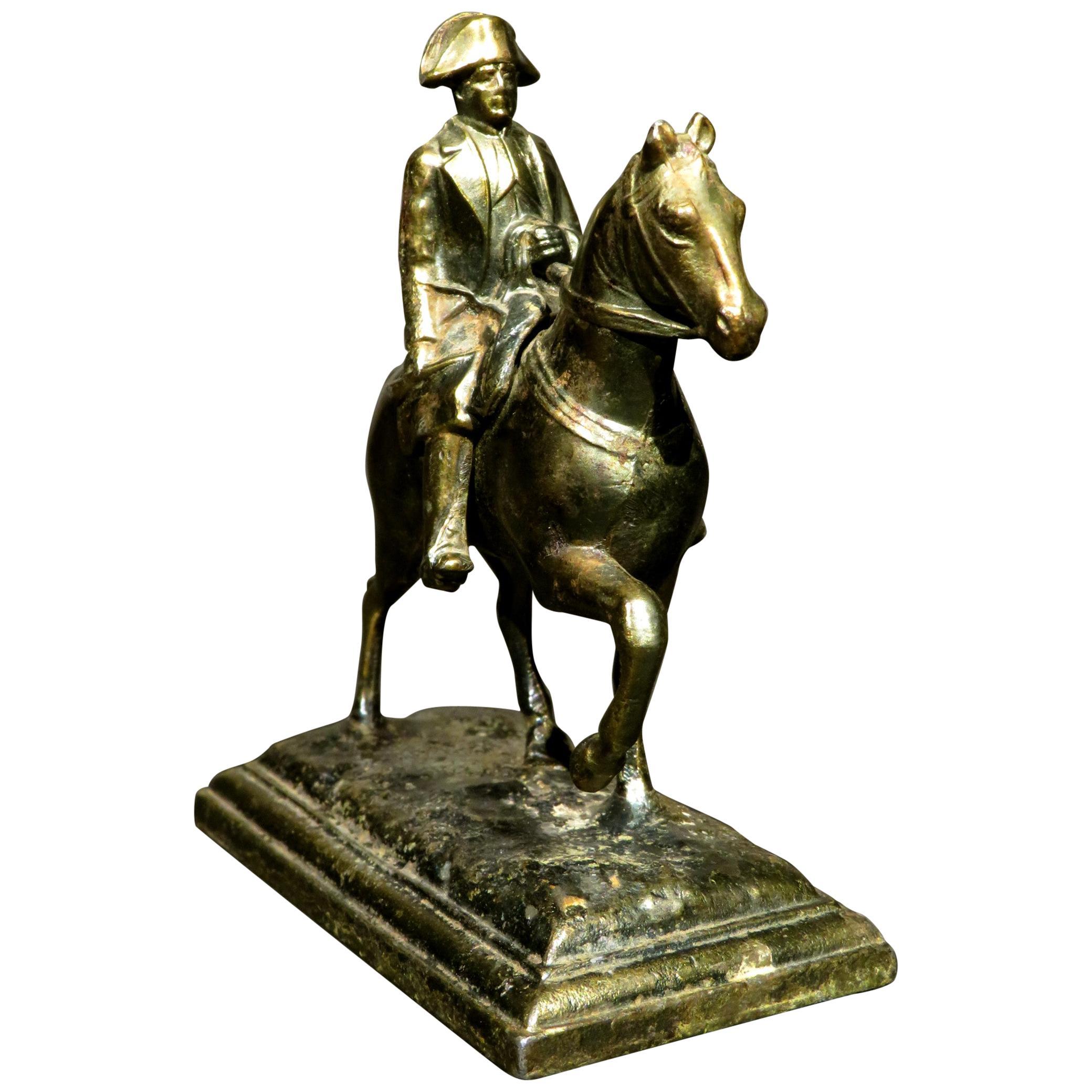 Miniature Patinated Spelter Figure of Napoleon Bonaparte on Horseback