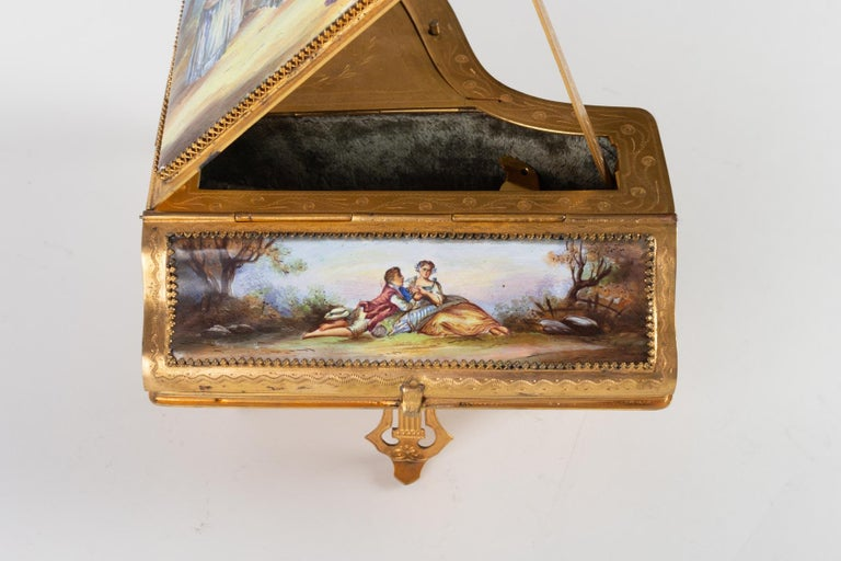 Napoleon III Miniature Piano, Music Box with Decoration of Gallant Scenes For Sale