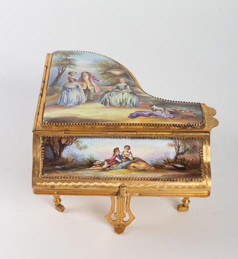 French Miniature Piano, Music Box with Decoration of Gallant Scenes For Sale