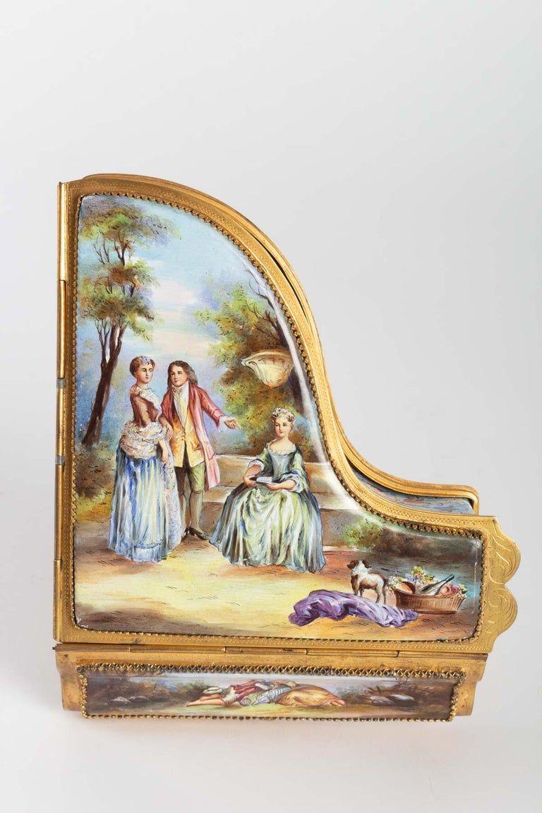 Gilt Miniature Piano, Music Box with Decoration of Gallant Scenes For Sale