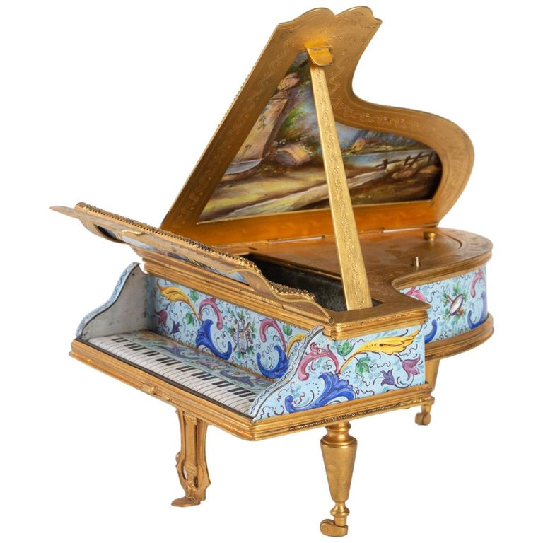Miniature Piano, Music Box with Decoration of Gallant Scenes For Sale