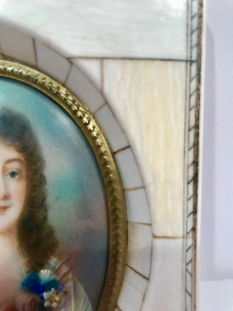 French A Miniature portrait of a