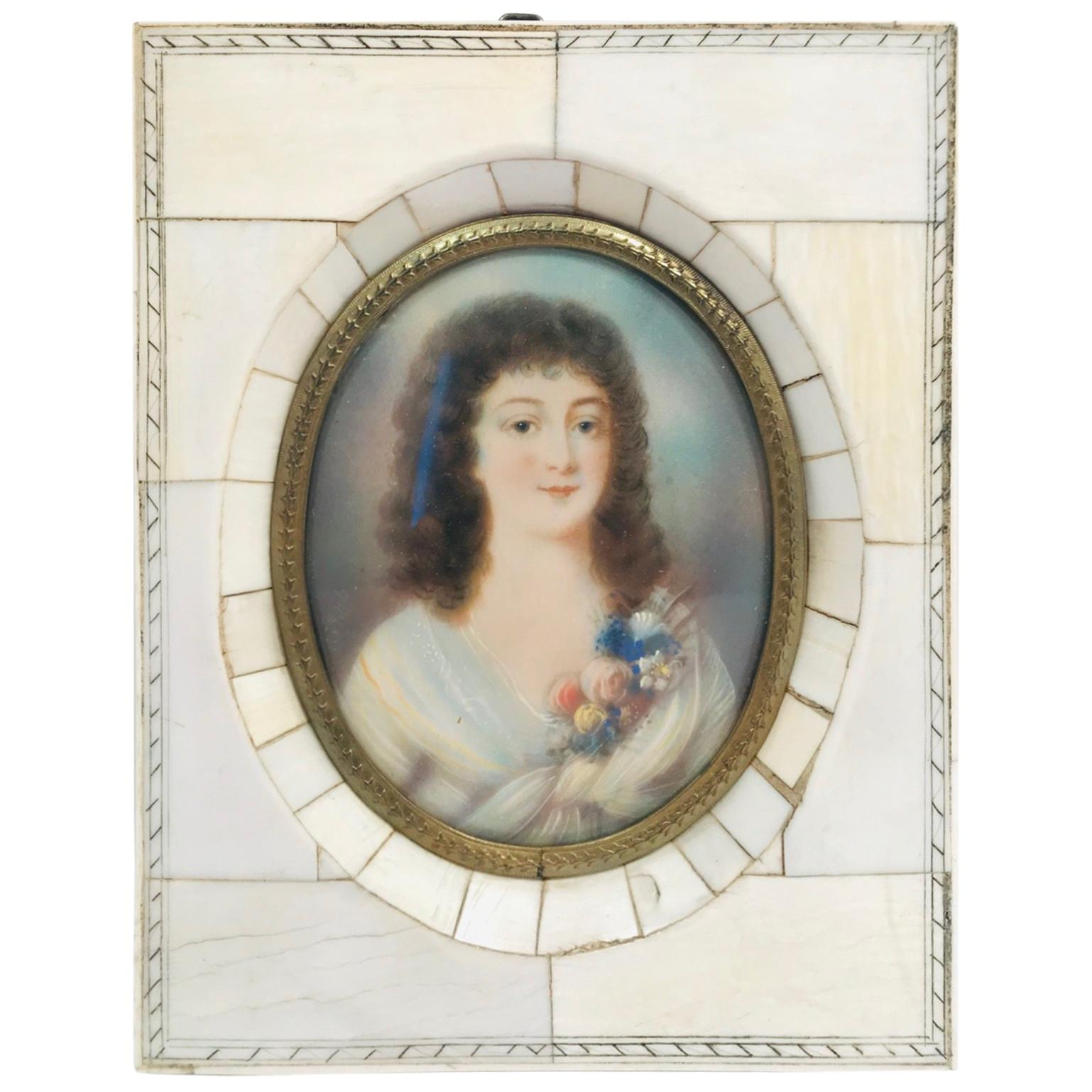 """Portrait in Miniature of A """"Beautiful Young Lady"""" in Period Frame"""