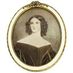 Miniature Portrait of a Distinguished Lady, Signed Stieler