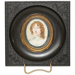 Miniature Portrait of a Lady in a Gutta-Percha Frame