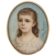 Miniature Portrait of Young Girl 18 Karat Gold Frame