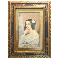Miniature Portrait Painting, Biedermeier Young Lady, Dated and Signed, Vienna
