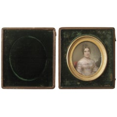 Miniature Portrait Painting Lovely Woman circa 1840 Travel Frame