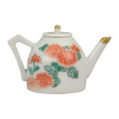 Miniature Rare Japanese Porcelain Teapot Arita Japan Chrysant, circa 1700