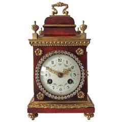Miniature Red Tortoiseshell and Bronze Paste Set Mantel Clock