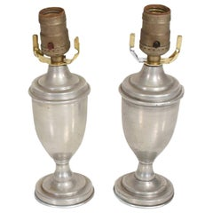 Miniature Regency Silver Petite Pair of Urn Table Lamps Hollywood Glamour 1960s