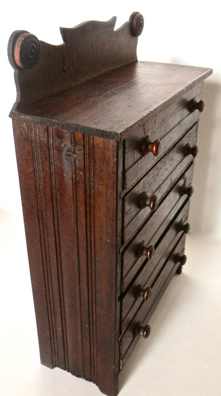 Hand-Carved Miniature Salesman's Sample Victorian Chest of Drawers, American For Sale