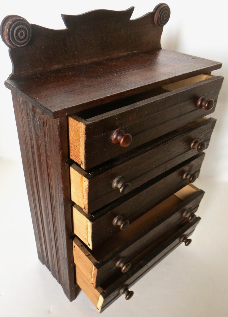 19th Century Miniature Salesman's Sample Victorian Chest of Drawers, American For Sale