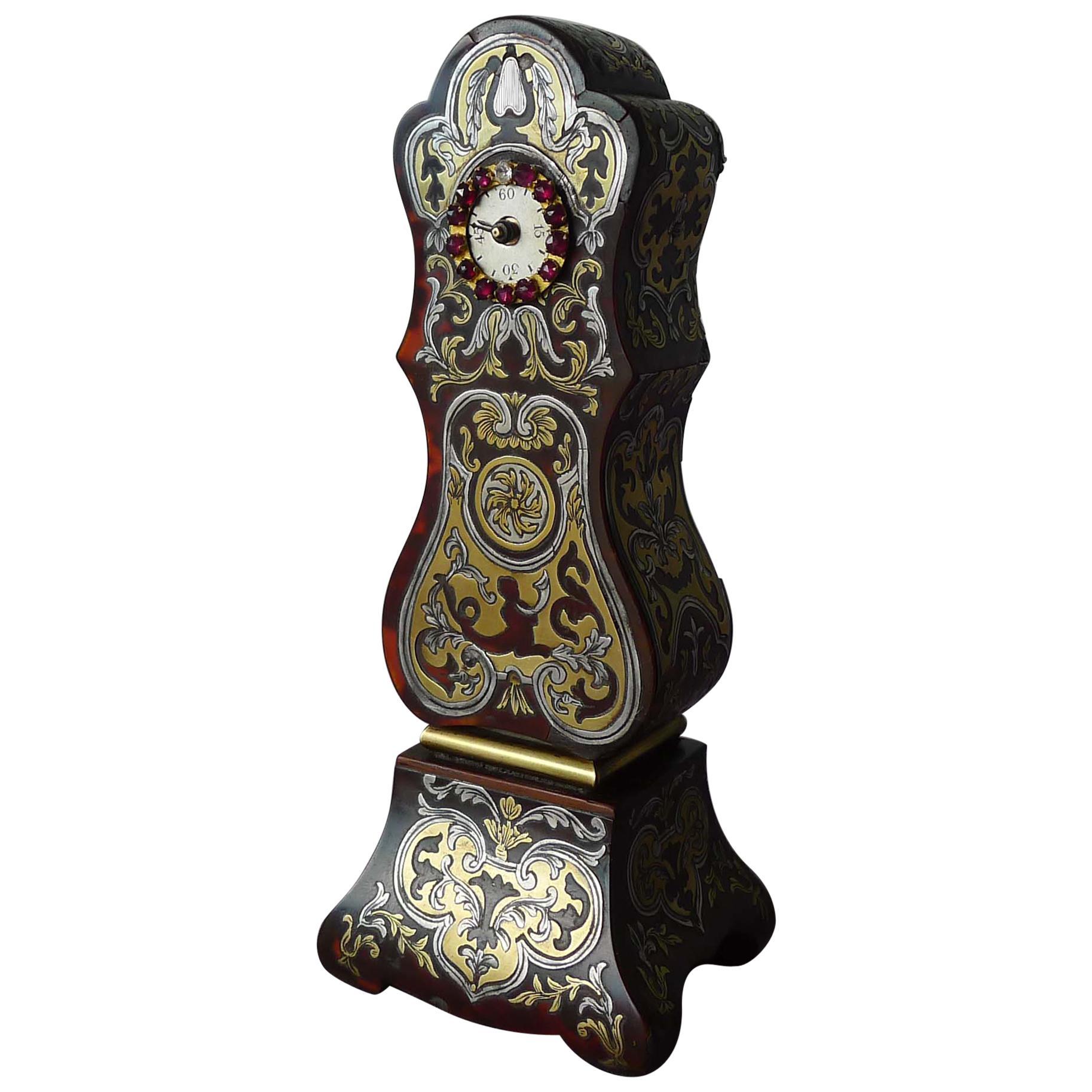 Miniature Scarlet Tortoiseshell, Pewter and Brass Boulle Longcase Clock