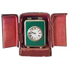 Miniature Silver and Guilloche Enamel Carriage Clock