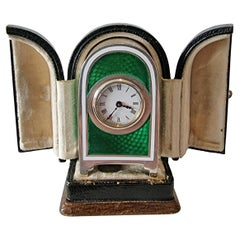Miniature Silver and Guilloche Enamel Carriage or Travel Clock by Appay