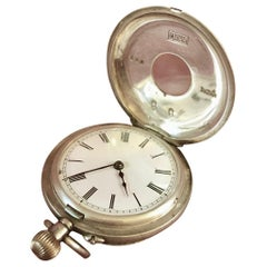 Miniature Silver Cased Half Hunter Pocket Watch with Roman Numerals