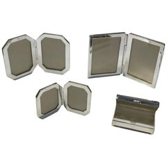 Miniature Sterling Silver Picture Frames and Sterling Silver Pill Box