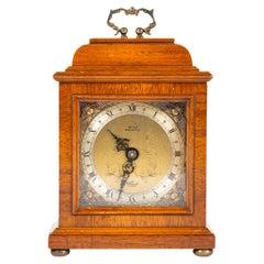 Miniature Walnut Bracket Clock by F.W. Elliott
