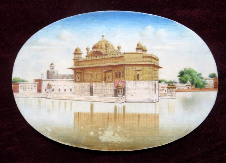 Stunning watercolor painting on ivory depicting a complete view of the Islamic Mausoleum Taj Mahal which stands on the South Bank of the Yamuna River in the Indian City of Agra.