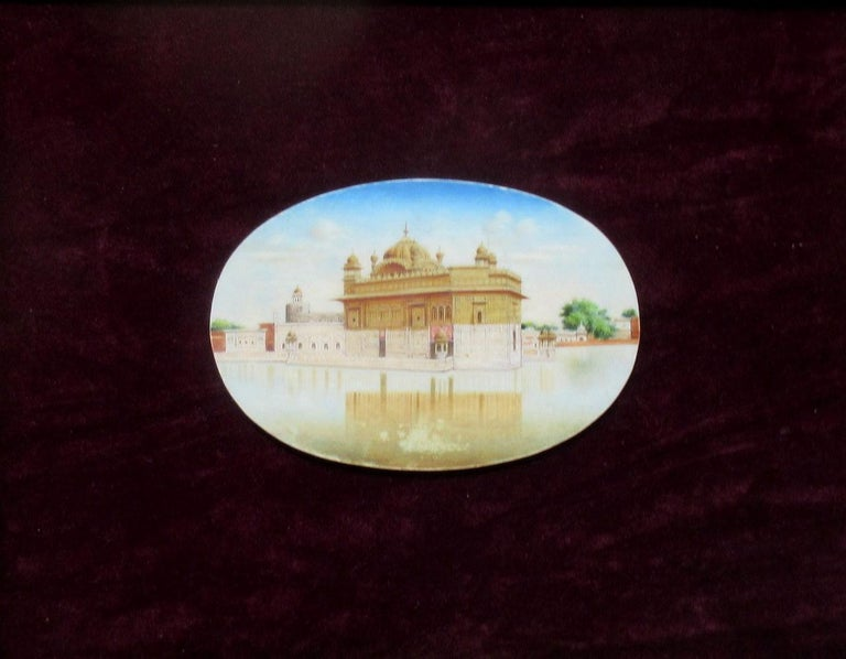 Gilt Miniature Watercolor Painting on Ivorine Taj Mahal Mausoleum India, 19th Century For Sale