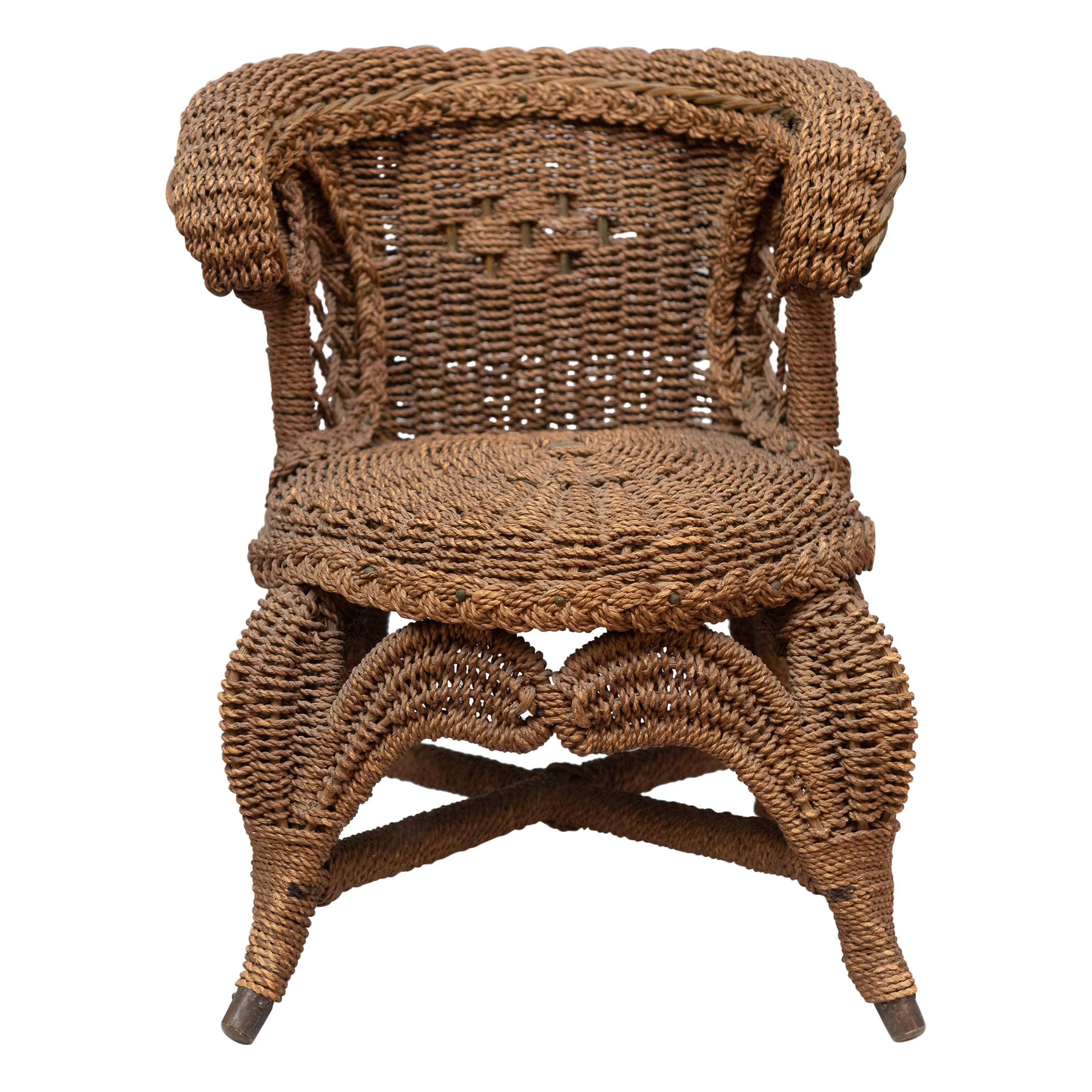 Miniature Wicker Chair, Possibly Salesman Sample, circa 1900