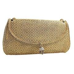 Miniaudiere Vintage 18 Karat Yellow Gold Woven Solid Bag Diamond Pave Tassles