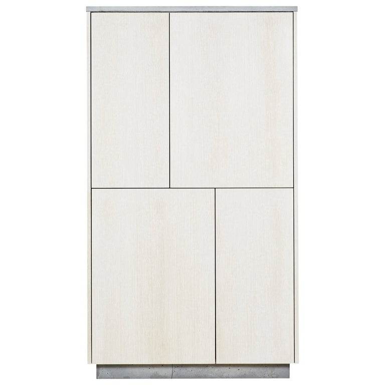 """Minimal 4-Door """"Janice Armoire"""" Concrete, White Oak and Mint Green Interior For Sale"""