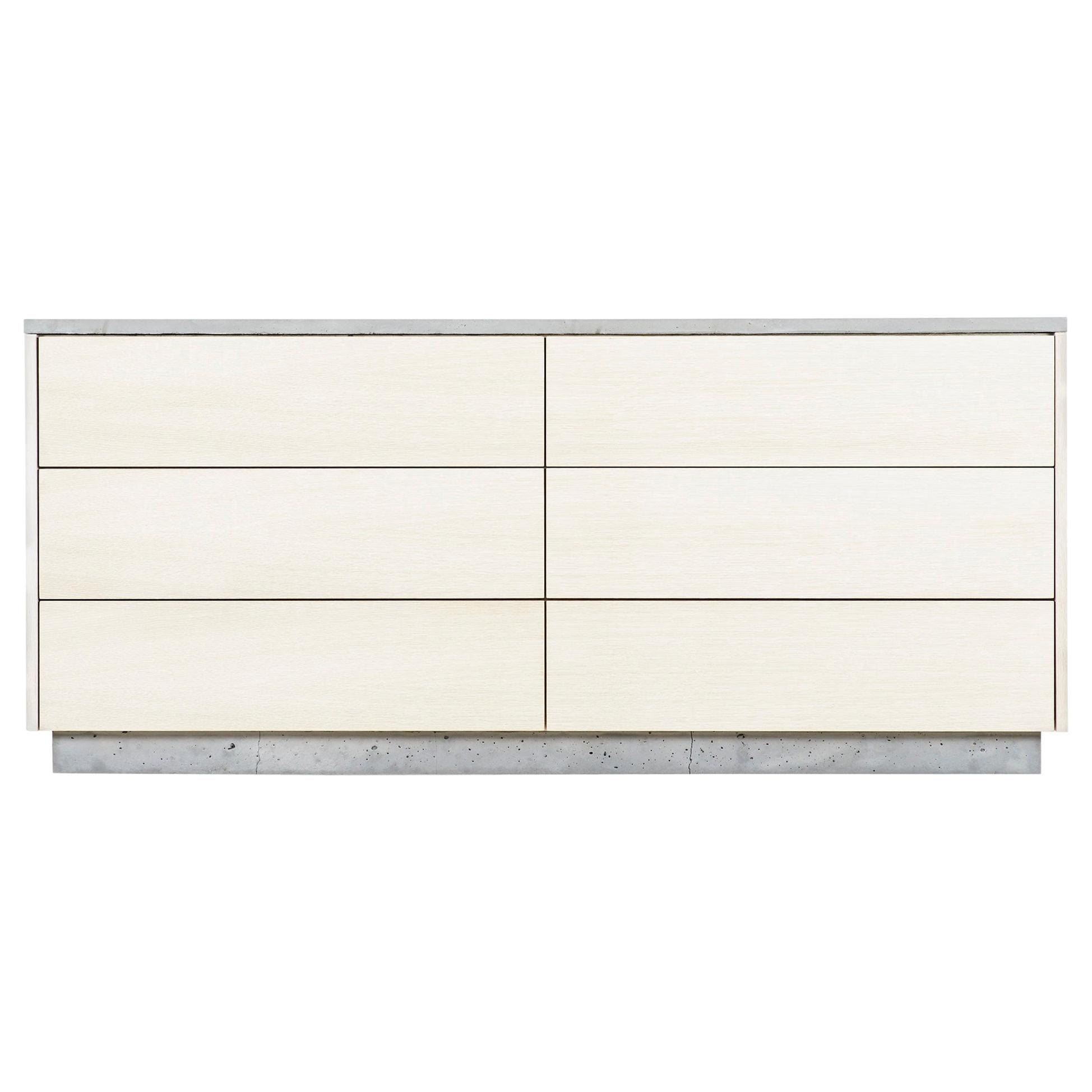"Minimal 6-Drawer ""Janice Dresser"" Concrete, White Oak and Mint Green Interior"